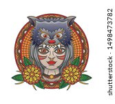 girl and wolf flash tattoo ... | Shutterstock .eps vector #1498473782
