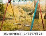 Childrens Swing On Iron Chains...