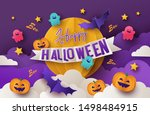 happy halloween greeting banner ... | Shutterstock .eps vector #1498484915
