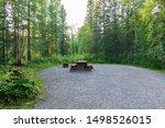 Empty Campsite With Picnic...