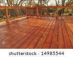 Newly Stained Deck In Backyard
