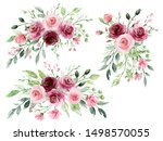set watercolor flowers painting ...   Shutterstock . vector #1498570055