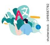 online translator concept with... | Shutterstock .eps vector #1498587782