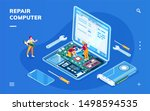 isometric screen with computer... | Shutterstock . vector #1498594535
