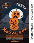halloween vertical background... | Shutterstock .eps vector #1498601525