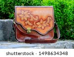 Leather Bag With Flower...
