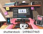 animator designer in creative... | Shutterstock .eps vector #1498637465