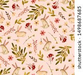 seamless pattern with cute... | Shutterstock . vector #1498687685