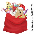 vector santa claus bag with... | Shutterstock .eps vector #149870282