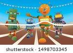 Four Robots Run At The Running...