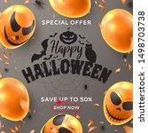 happy halloween sale background.... | Shutterstock .eps vector #1498703738
