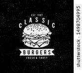 vector vintage fast food logo.... | Shutterstock .eps vector #1498704995