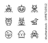 set of nine halloween monster...