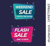 weekend and flash sale banners... | Shutterstock .eps vector #1498759865