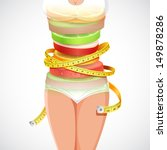 illustration of fruit forming slim lady with measuring tape