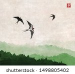 swallow birds flying over the...   Shutterstock .eps vector #1498805402
