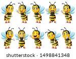 cartoon cute bee character set. ...