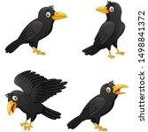 set of cartoon crow with...