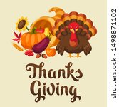 happy thanksgiving day greeting ... | Shutterstock .eps vector #1498871102