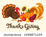 happy thanksgiving day greeting ... | Shutterstock .eps vector #1498871105