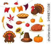 set of happy thanksgiving day... | Shutterstock .eps vector #1498871108
