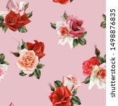 seamless floral pattern with... | Shutterstock . vector #1498876835