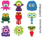 set of funny cartoon monsters... | Shutterstock .eps vector #149890862