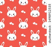 Stock vector cute rabbit bunny hare and heart seamless pattern vector 1498912535