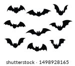 black silhouettes of bats set... | Shutterstock .eps vector #1498928165