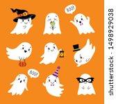 Halloween Set Of Cute Funny...