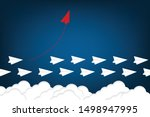 red airplane changing direction ... | Shutterstock .eps vector #1498947995