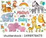 Set Of Isolated Animals Mother...