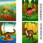 set of pictures with dinosaurs. ... | Shutterstock .eps vector #1498983335