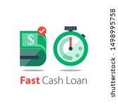 cash back  bundle of bills and... | Shutterstock .eps vector #1498995758