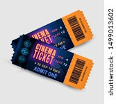 two tickets with film strip and ... | Shutterstock .eps vector #1499013602