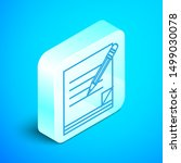 isometric line blank notebook... | Shutterstock .eps vector #1499030078