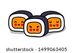 little kawaii sushi with cute... | Shutterstock .eps vector #1499063405