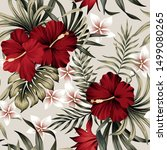 tropical vintage red hibiscus... | Shutterstock .eps vector #1499080265