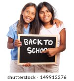 girls holding a chalkboard back ... | Shutterstock . vector #149912276