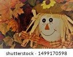 Happy Smiling Scarecrow Sittin...