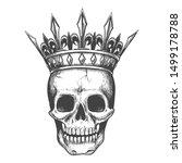 skull in crown sketch. demon... | Shutterstock .eps vector #1499178788