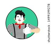 Mime Winks And Thumb Up. Happy...