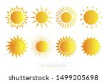 Sun yellow vector icon set sol on white background. Isolated flat sunlight illustration collection element for logo, weather, summer, spring, autumn. Burst symbol template