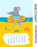 June. Vector Calendar Page With ...