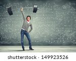weight lifting businessman with ... | Shutterstock . vector #149923526