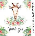 cute watercolor giraffe with... | Shutterstock . vector #1499257295