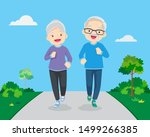 happy fit senior couple... | Shutterstock .eps vector #1499266385
