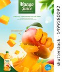 mango bottled juice ads with... | Shutterstock .eps vector #1499280092