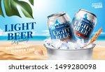 refreshing light beer in ice... | Shutterstock .eps vector #1499280098