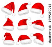 christmas santa claus hats with ... | Shutterstock .eps vector #1499297018